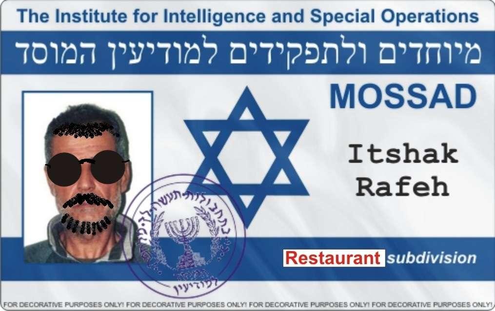 MOSSAD - divizia de restaurante sub acoperire