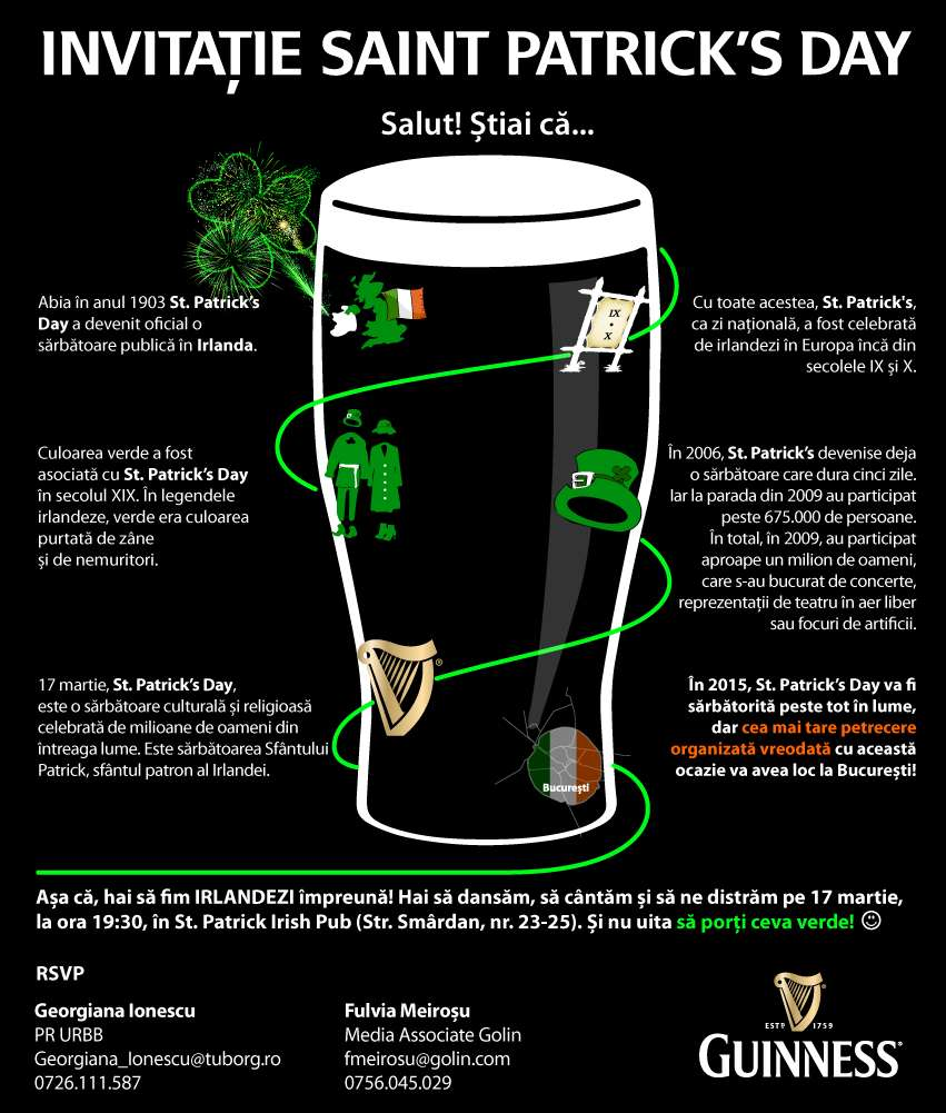Invitatie GUINNESS la St Patricks Day